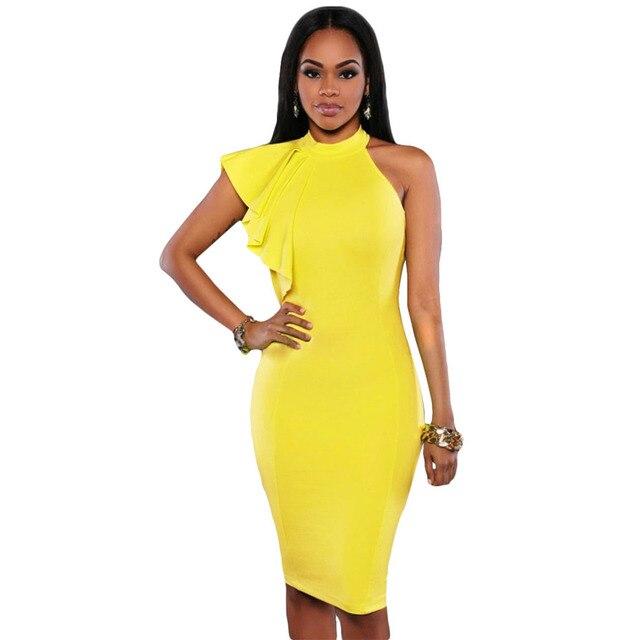 b0d9bc94153 Vestidos Mujers 2016 Black White Yellow One Shoulder Ruffle Sleeve Bodycon  Dress Women Summer Dress Pencil Midi Formal Dress H35