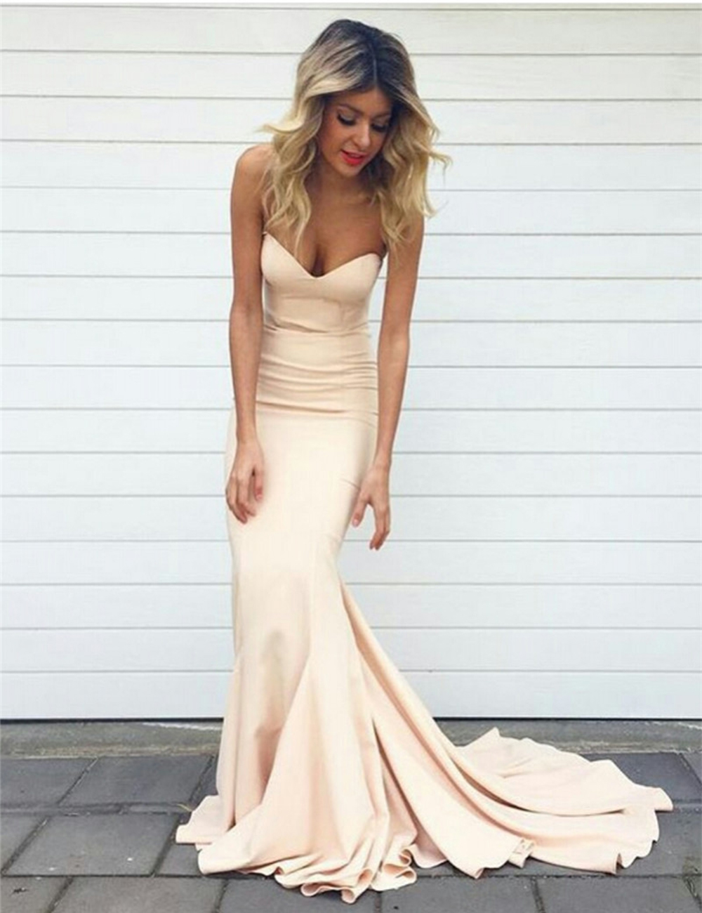 New Elegant Champagne Mermaid   Prom     Dresses   2019 Sweetheart Floor-Length Court Train Party Gowns Cheap Clothes China Caftan