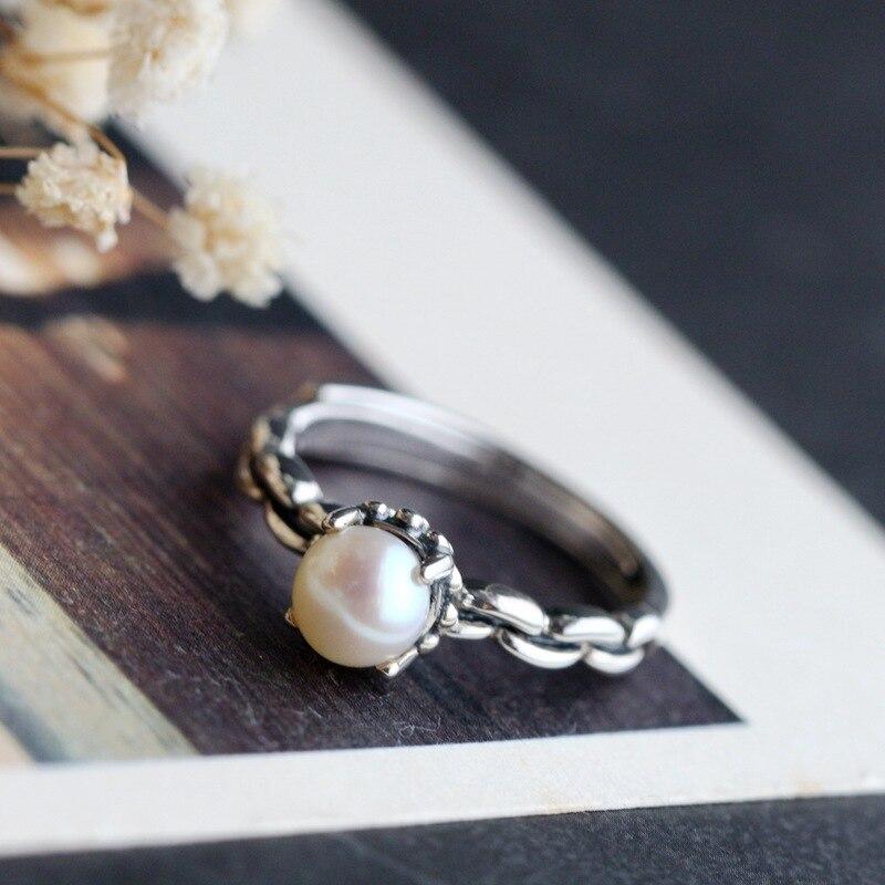Fait à la main perle naturelle Thai argent dames anneau Vintage ouvert en argent sterling anneau usine directe livraison gratuite