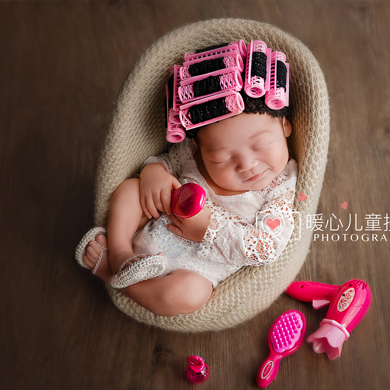 2019 <font><b>New</b></font> <font><b>born</b></font> <font><b>Toys</b></font> for Newborn Photography Props Baby Hairdryer Set Mini Perm Rods cap Shoots Photo Prop Accessories Hair Style image