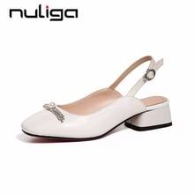 Nuliga handmade art design movie stars back band chain pearl retro square  toe med heels runway dress slingback woman pumps L18 e3c166914e36