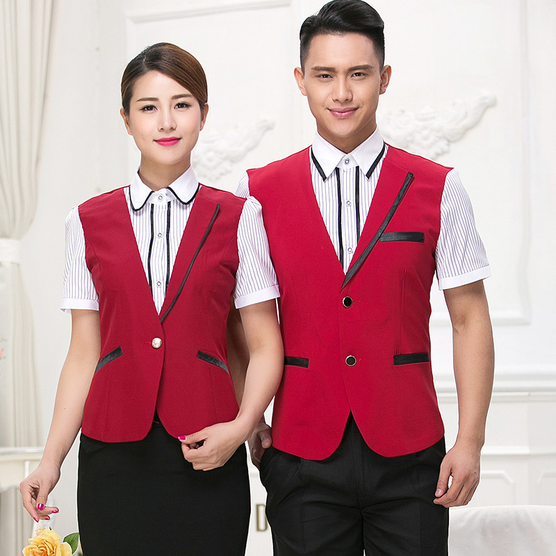 Hotel Overalls Summer Female Waitress Uniform Catering Cafe Front Vest Restaurant Short Sleeve Waiter Men Jacket Work Wear H2403