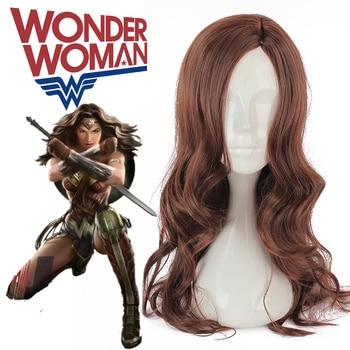 Batman v Superman Dawn of Justice Wonder Woman Cosplay Princess Diana Cosplay Fashion Long Dark Brown Wavy Heat Resistant Fiber Принцесса Жасмин