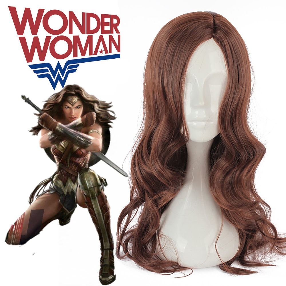Batman v Superman Dawn of Justice Wonder Woman Cosplay Princess Diana Cosplay Fashion Long Dark Brown Wavy Heat Resistant Fiber