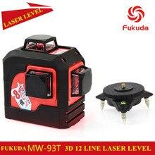2017 neue 3D 12 Roten linien Fukuda, MW-93T 3D 12 Linien laser-niveau, Selbstverlaufende 360 Horizontale, vertikalen Quer Super Leistungsstarke