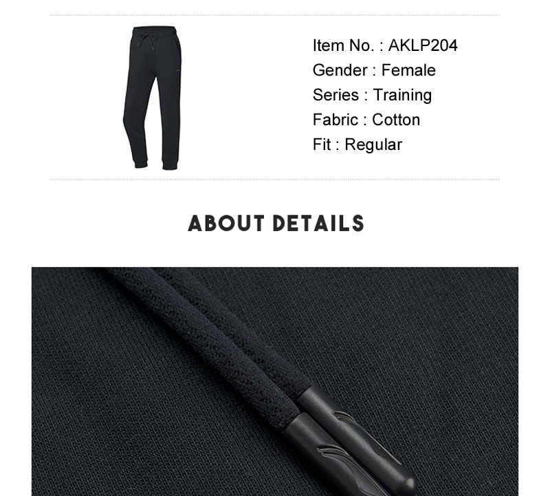 Li-Ning Women Training Series Sweat Pants Regular Fit 3D Fitting 100%Cotton LiNing Sports Fitness Pants Trousers AKLP204 WKY229