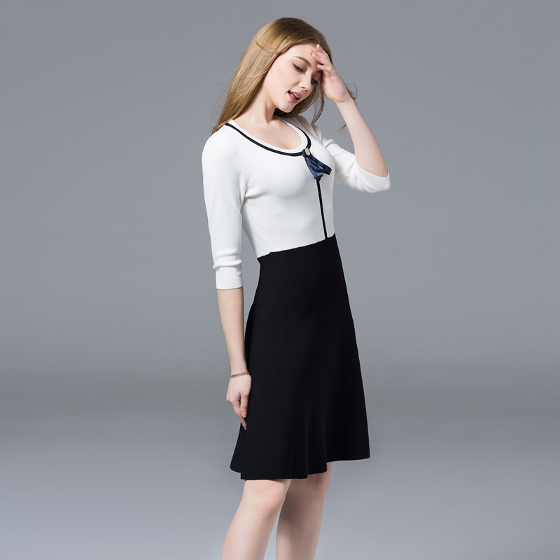 58695ba09aa Aliexpress.com   Buy SFFZ Women Knitted Dress O Neck Long A Line Sweater  Dress Elegance White Black Patchwork Youth Female Comfortable Soft Dresses  from ...