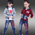 2016 autumn children's clothes boys girls sets long sleeve hooded thin boy sports suits for boys girls kids outfits 3 pcs