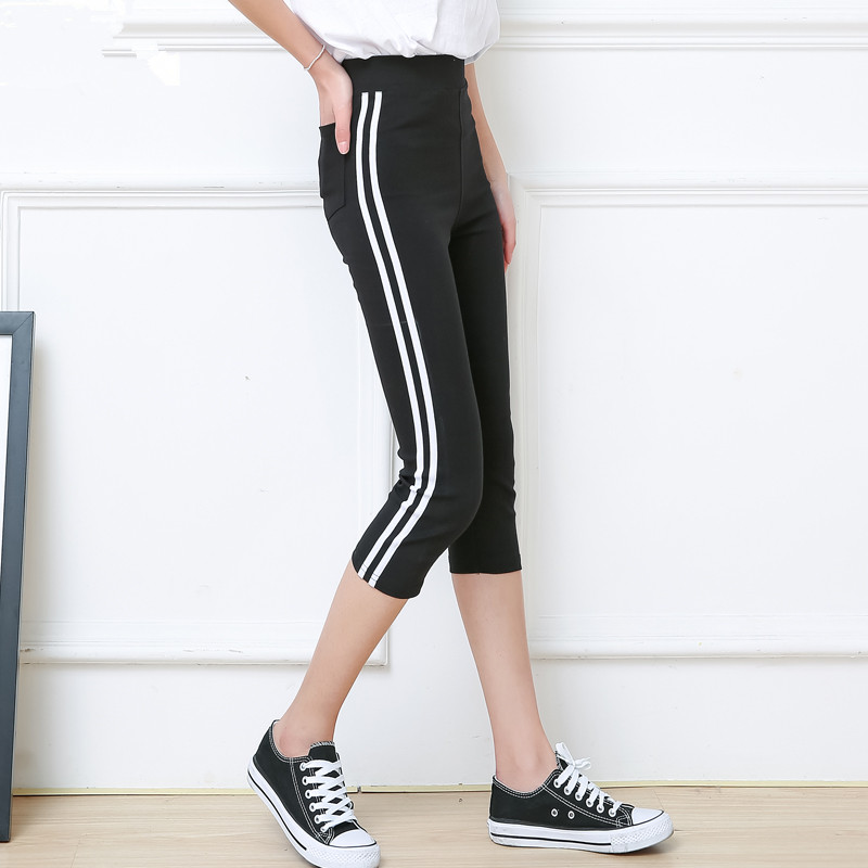 Pantalon Mujer Summer Women   Capris   Leggings 150kg Plus Size 5XL 6XL Slim Calf-Length   Pants   Women Befree Black Striped Breathable