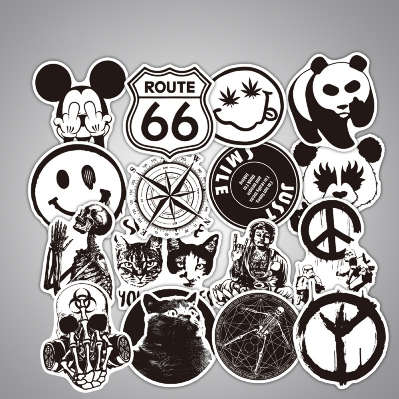 100 PCS Black and White Stickers Cool Car Sticker Laptop Motorcycle Bicycle Electric Scooter Guitar Luggage Tag Car 5.18