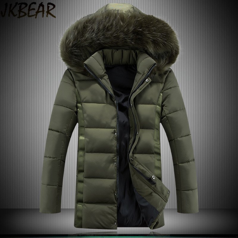 2016 Winter Men's Slim Fit Fur Hooded Warm Parka Middle Long Military Army Green Coat with Big Detachable Hood Plus Size M-5XL