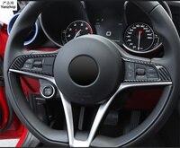 Free shipping carbon fiber grain 2pcs/lot For Alfa Romeo Giulia Stelvio 2017 2018 ABS Chrome steering wheel decoration cover