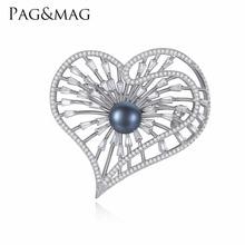 PAG & MAG Marca Silver925 Jóias Inlay Pérola Negra Broche Pin Para As Mulheres Elegantes da Forma Do Coração Aniversário Acessórios Com Presente caixa