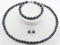 7-8mm Naturel Noir Riz Perle D'eau Douce Collier Bracelet Boucles D'oreilles Ensemble de Bijoux