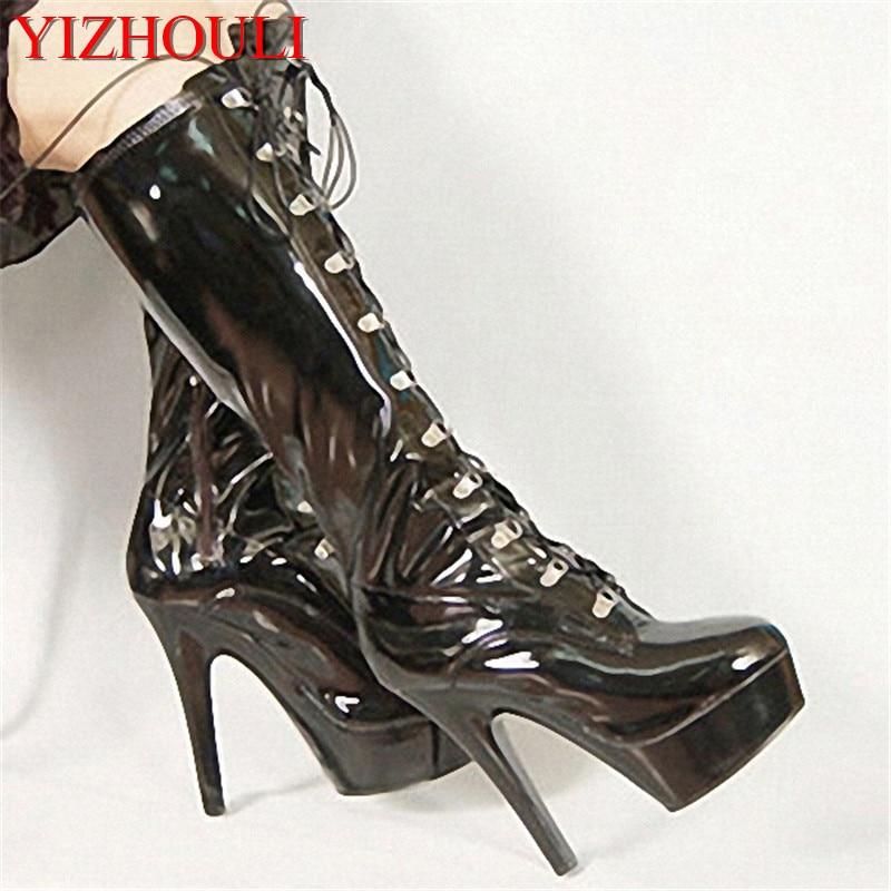 bf36e76766fb3 Sexy 15 cm cristal fond épais à talons hauts bottes pole dancing bottes  performance Coton-rembourré en cuir chaussures