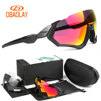 2018 Obaolay Cycling Sunglasses Men Polarized Cycling Goggles Half Frame 3 Lenses Outdoor Sport Road Bike Cycling MTB glasses
