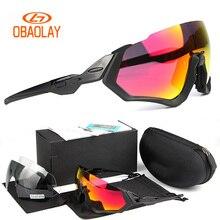 42b660e8932b4f 2018 Obaolay lunettes de soleil cyclisme hommes lunettes de cyclisme  polarisées demi-cadre 3 lentilles Sport de plein air vélo d.