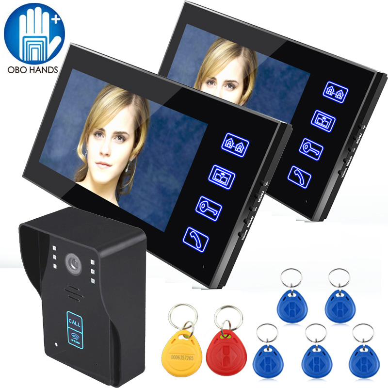 7 Color Touch Screen Wired Video Doorbell Phone Intercom System 2 Indoor Monitor+One Outdoor Camera with RFID 125KHz Key Tag jeatone video phone home intercom audio doorbell 3 7mm pinhole cameras with 4 indoor monitor screen wired office intercom
