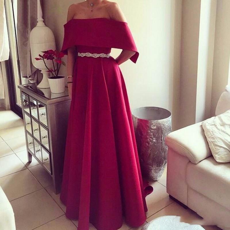 Red Long Prom Dresses 2019 A Line Satin With belt Formal Dress Women vestidos de fiesta