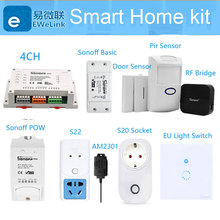 2019 Sonoff 4CH 2CH 1CH Wifi Smart Diy Switch Smart Home S20 EU Socket Door Pir Temperature Sensor Works With Alexa Google Home цена