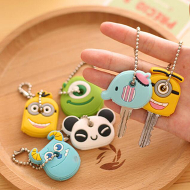 Cute 10pcs/lot Cartoon Key Holder Plastic Creative Portable Phone Key Bag Keycha