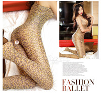 FREE SHIPPING Sexy condole open fork leopard jumpsuits socks exposed body tight backless extreme temptation filar sock IN STOCK