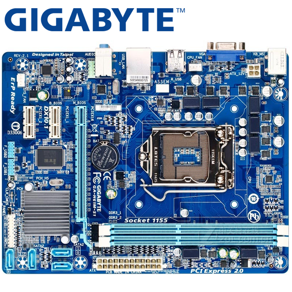 GIGABYTE GA-H61M-S1 Desktop Motherboard H61 Socket LGA 1155 i3 i5 i7 DDR3 16G uATX UEFI BIOS Original H61M-DS1 Used Mainboard asus p8b75 m lx desktop motherboard b75 socket lga 1155 i3 i5 i7 ddr3 16g uatx uefi bios original used mainboard on sale