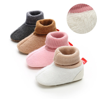 Winter Newborn Baby Boy Girl Plush Cotton Shoes First Walkers Soft Soled Infant Footwear Bebe Knitting Splice Baby Shoes.CX130