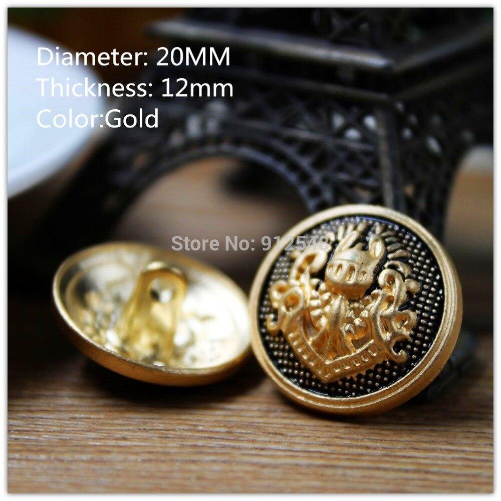 métal Croix style creux Boutons Taille 12 mm Set 8 pièces couleur or
