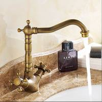 Free Shipping Antique Bronze Finish 360 Degree Swivel Brass Faucet Bathroom Basin Sink Mixer Bathroon Taps
