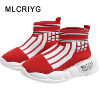 New 2019 Autumn Kids Sock Shoes Baby Boys Casual Sneakers Children Black Chunky Sneakers Girls High Top Sport Sneakers Trainers
