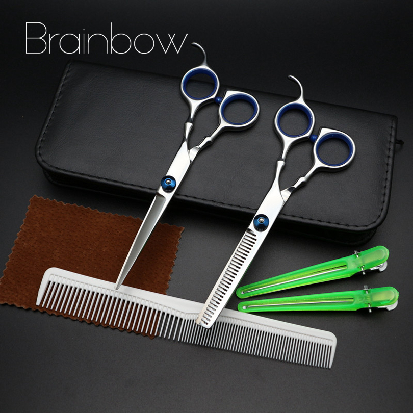 Brainbow 6.0in Professional Hairdressing Hair Scissors Set Cutting& Thinning Barber Shears Hair Salon with Comb+Hairpin+PU case 7 inch cutting scissors professional hairdressing hair scissors salon barber pet shears set with case