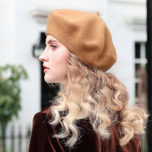 145a3674116c6 Slouchy 100% Pure Wool Felt Beret Women Fashion British Style Girls ...