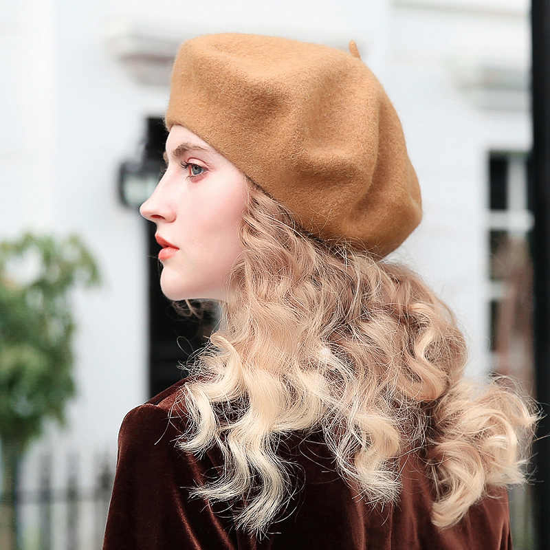 f81ec422be406 ... Slouchy 100% Pure Wool Felt Beret Women Fashion British Style Girls Beret  Hat Lady Solid ...