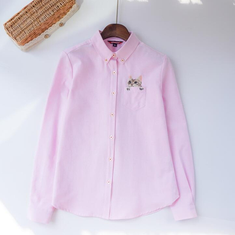 2019 Autumn New Fashion Women Blouses Slim Loose Turn-down Collar Long Sleeve Cat Embroidered Shirts Tops Clothes S-XL Karachi