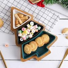1 set christmas tree ceramic dishes porcelain plates tableware dinnerware salad cake fruit dessert candy dishes afternoon tea - Christmas Candy Dishes