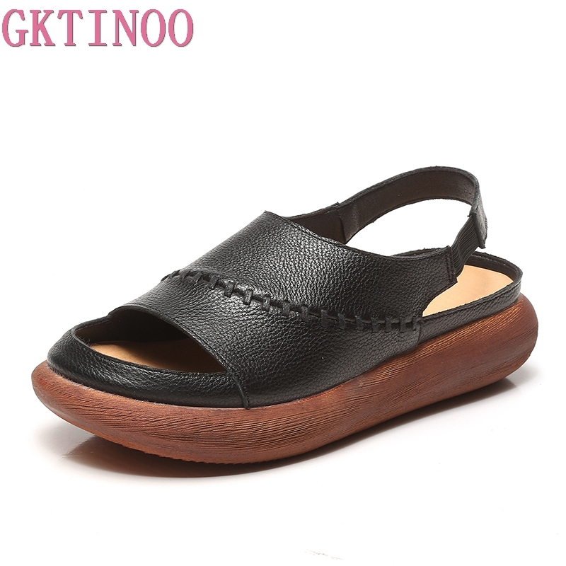 GKTINOO Women Sandals Genuine Leather Sandals Handmade Flat Summer Shoes Female Peep Toe Platform Sandals Women Casual Shoes mmnun 2017 boys sandals genuine leather children sandals closed toe sandals for little and big sport kids summer shoes size26 31
