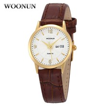 2017 WOONUN Womens Watches Ladies Watches Top Brand Luxury Genuine Leather Calendar Quartz Ultra Thin Watch Geneva Watch Women