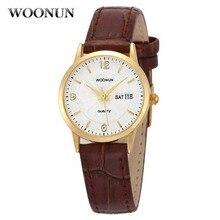 · ウォッチの女性 レディースレディース腕時計トップブランドの高級本革カレンダークォーツ超薄型腕時計ジュネーブ WOONUN