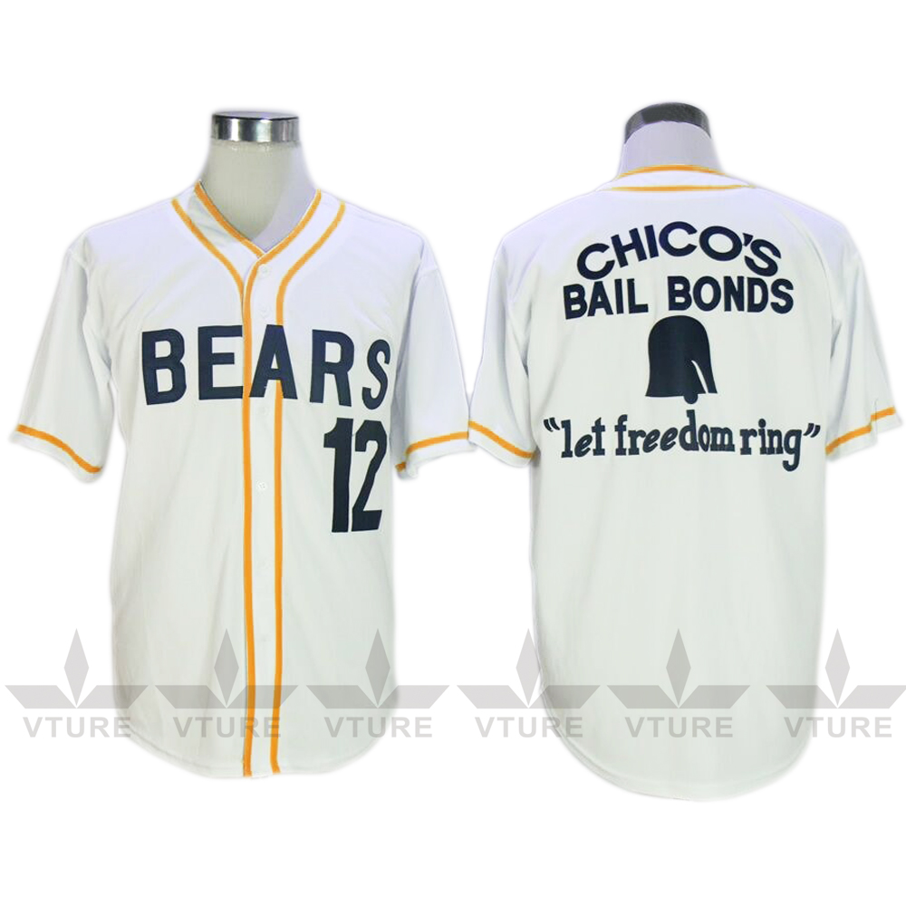 VTURE Stitched Bad News Bears #12 Tanner Boyle Movie White Baseball jersey W S-2XL Free Shipping