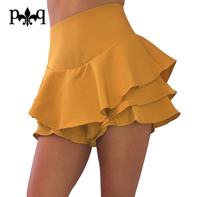 184adde6aee Hilove Les Femmes Plissée Jupe D été Sexy Mini Jupe Taille Haute À Volants  Jupes
