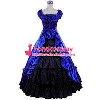 Готическая Лолита панк средневековое платье синий и черный шар длинное вечернее платье куртка на заказ [CK1411]