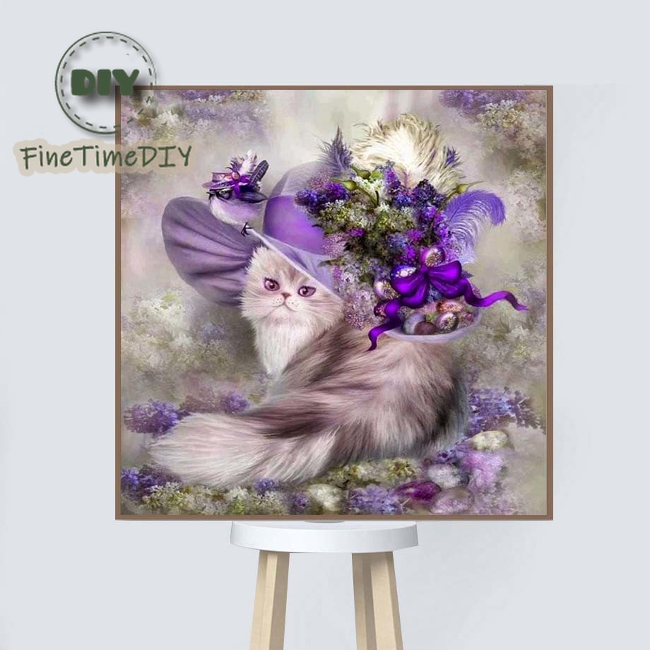 FineTime diamond painting animal 5d diy partial drill cat mosaic diamond embroidery sale cross stitch kit home decor in Diamond Painting Cross Stitch from Home Garden