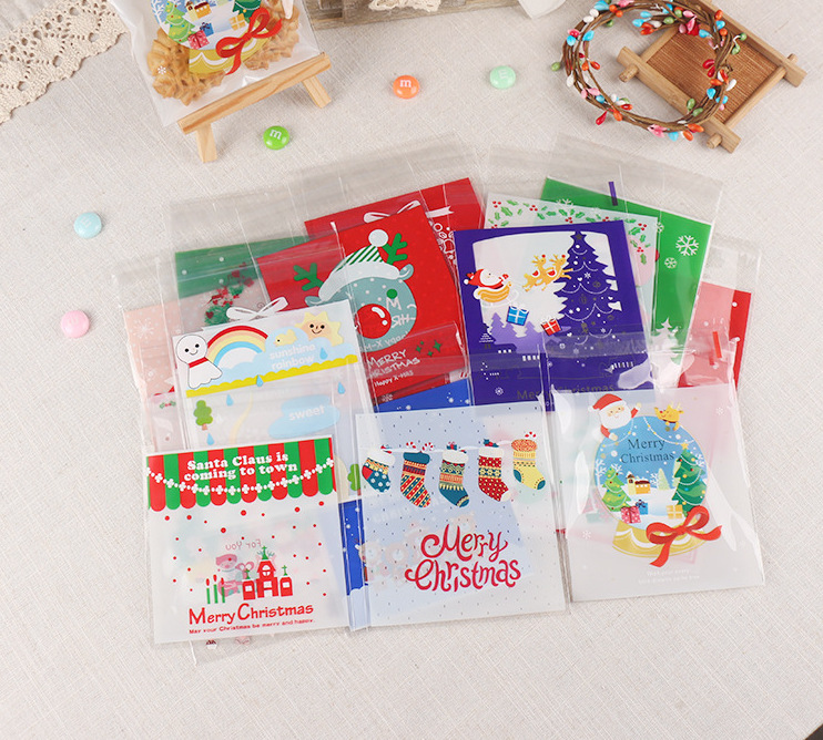 100Pcs/Pack Christmas Plastic Cookie Packaging 10x10cm DIY Cupcake Wrapper Bags Opp Self Adhesive Gift Candy Bag Package F3041