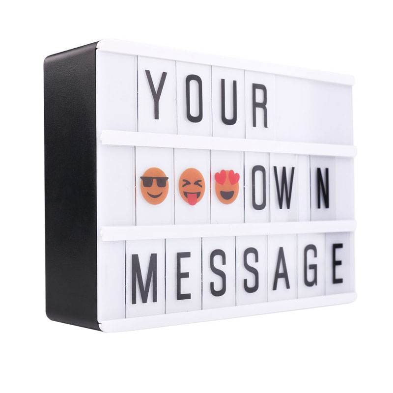 A6 Combination LED Night Light Box USB Port DIY Black Letters Cards Lamp Message Board Party Sign Cinema Lightbox  HR