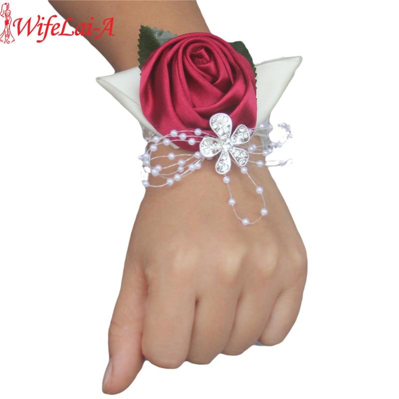 100% Handmade 2piece Wine Red Crystal Bouquet Corsage Diamond Satin Rose Flowers For Wedding Bride Wrist Flowers SW0677Y