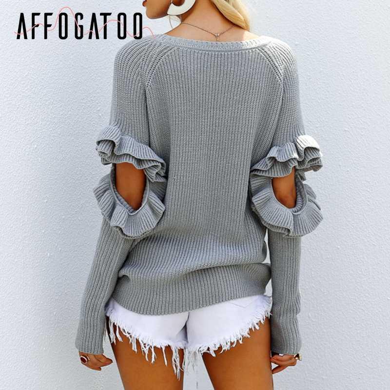 Afogafoo элегантный выдалбливают оборками зимний женский свитер-пуловер Свободный пуловер с длинными рукавами женский теплый осенний Повседневный джемпер