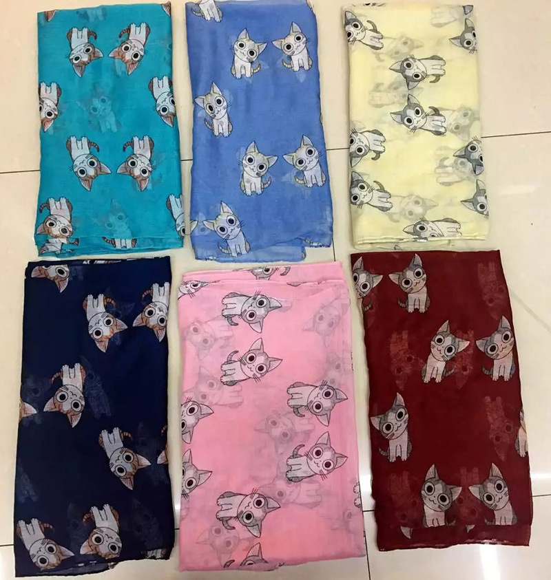 2016 Newest Cute Cat Print   Scarves   Shawls Women Animal Print   Scarf     Wrap   Hijab 7 Color Free Shipping Oversize Women   Scarf