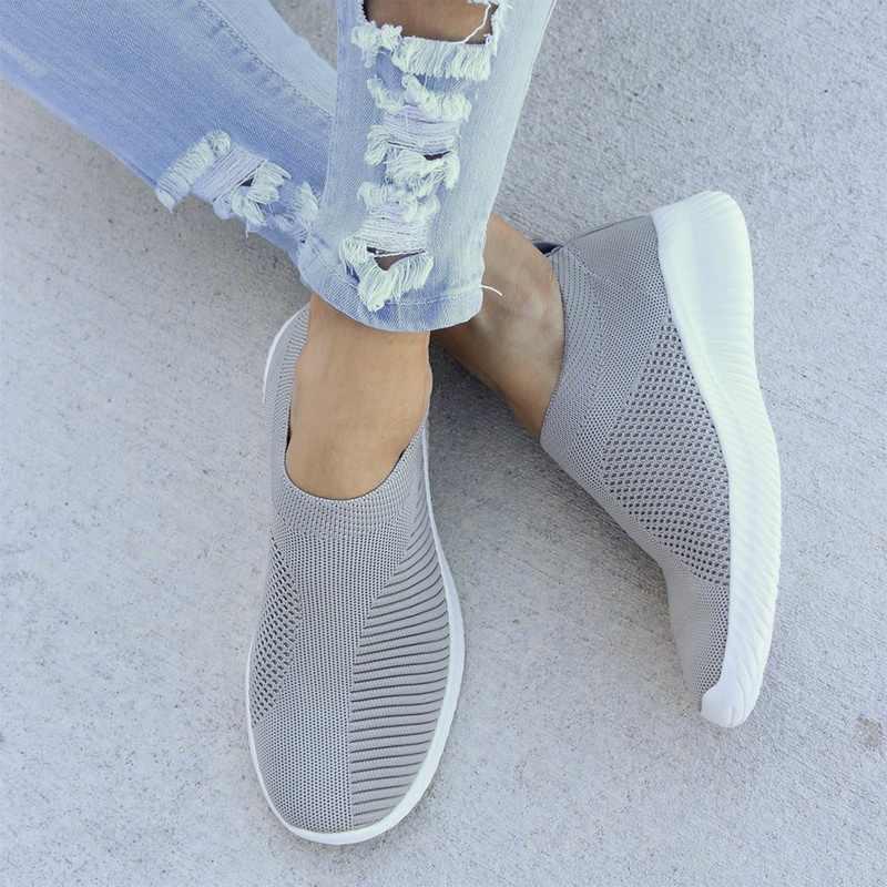Artı Boyutu Nefes Hava Mesh Sneakers Kadın 2019 Bahar Yaz Kayma Platformu Örgü Flats Yumuşak yürüyüş ayakkabısı Kadın 35- 43
