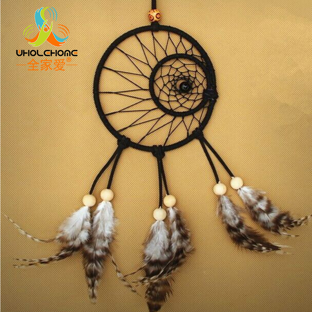 ᗚBlack Indian Dream Catcher Handmade Concentric Rings Wall Hanging ...